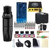 Dragonhawk Rotary Tattoo Pen Machine Kit, Mast Tour Tattoo Pen Power Supply 10Pcs Cartridges Kit with Case