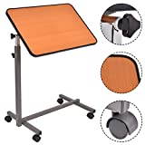 COSTWAY Overbed Rolling Table Over Bed Laptop Food Tray Hospital Desk With Tilting Top
