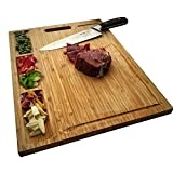 HHXRISE Large Organic Bamboo Cutting Board For Kitchen, With 3 Built-In Compartments And Juice Grooves, Heavy Duty Chopping Board For Meats Bread Fruits, Butcher Block, Carving Board, BPA Free ...