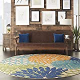 Nourison Aloha ALH05 Indoor/Outdoor Floral Blue Multicolor 7'10' x ROUND Area Rug (8'xROUND)