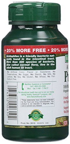 Nature's Bounty Nature's Bounty Probiotic Acidophilus, 360 Tablets (3 X 120 Count Bottles),, 360 Count () 2