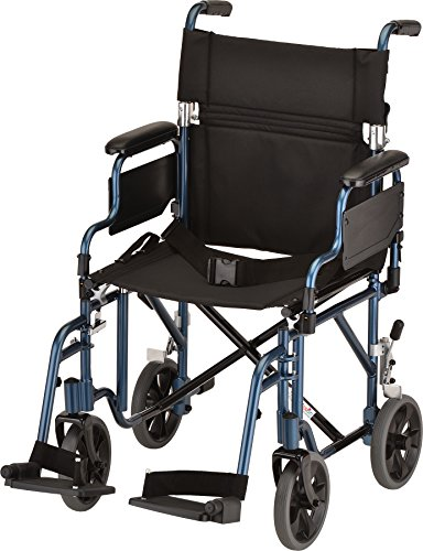 NOVA Medical Products 19' Transport/Wheelchair with Detachable Arms, Blue