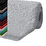 casa pura Bath Mats for Bathroom - 30' x 45' Light Gray Bathroom Rug | Ultra Absorbent, Self-Dry Microfiber, Non-Slip Bath Mats for Floors | Bathroom Rugs in 10 Fresh Colors