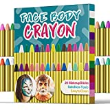 UNEEDE 28 Colors Face Paint Crayons Safety and Non-Toxic Face Body Painting Sticks for Toddler, Children, Kids, Teens and Adult Easter Halloween Christmas Makeup Theme Party Supplies