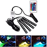 Car LED Strip Lights - SZYOUMY 4pcs 36 LED Multicolor Music Car Interior Atmosphere Lights, USB LED Strip for Car TV Home with Sound Active Function, Wireless Remote Control and Smart USB Port
