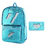 Glitter Backpack for Boys Kids Girls Magic Sequin School Bookbag Sparkly Sequence Book Bag (Aqua Blue)