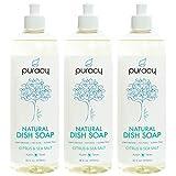 Puracy Natural Liquid Dish Soap, Sulfate-Free Detergent, Citrus & Sea Salt, 16 Ounce (3-Pack)
