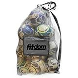 Extra Large Heavy Duty Soccer Ball Mesh Bag for Sports, Beach and Swimming Gears. Adjustable Shoulder Strap Made to Fit Adults and Kids. Secure Side Pocket for your Personal Item. 40x30 IN (Dark Gray)