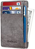 Chelmon Slim Wallet RFID Front Pocket Wallet Minimalist Secure Thin Credit Card Holder (Vinti Grey Steel)