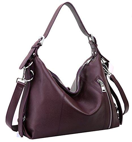 Heshe Vintage Women's Leather Shoulder Handbags Totes Top Handle Bags Cross Body Bag Satchel Handbag Ladies Purses (Violet)