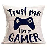 Smilyard Retro Wood Grain Throw Pillow Covers Quote Trust me I'm a Gamer Decorative Pillow Case Gamepad Pattern Cotton Linen Pillow Covers Decor Home Sofa 18x18 Inch(WQ 06)