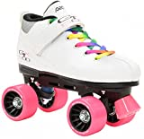 White Pacer Mach-5 GTX500 Quad Speed Roller Skates with Rainbow Laces (Kids 3)