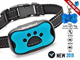 Dog Bark Collar-New Version 2019-Sound & Vibration Humane Training Collar for Small, Medium & Large Dogs- No Shock Safe Pet Waterproof Device-Free!!-New LED Light Tag!