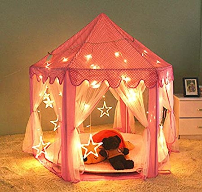 """[Updated] Kids Indoor Princess Castle Play Tent,55""""x 53""""(DxH),PortableFun Perfect Hexagon Large Playhouse Toys for Girls Childs Toddlers Gift/Presents With Led Star Lights - Balls Not Included"""