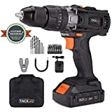 TACKLIFE 20V Cordless Drill Driver, 1/2' Metal Chuck,2 Speeds and Big Torque Hammer Drill Set with 43pcs Accessories,2000mAh Lithium Battery Pack and 1Hour Fast Charger,PCD04B