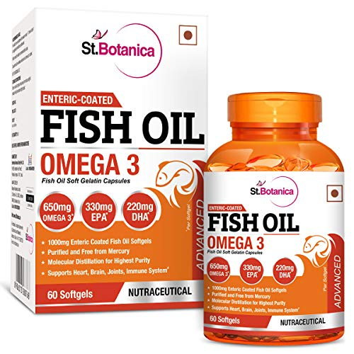 StBotanica Fish Oil 1000 mg (Double Strength) with 600 mg Omega 3-60 Softgels 1  StBotanica Fish Oil 1000 mg (Double Strength) with 600 mg Omega 3-60 Softgels 51f2KQCrUAL