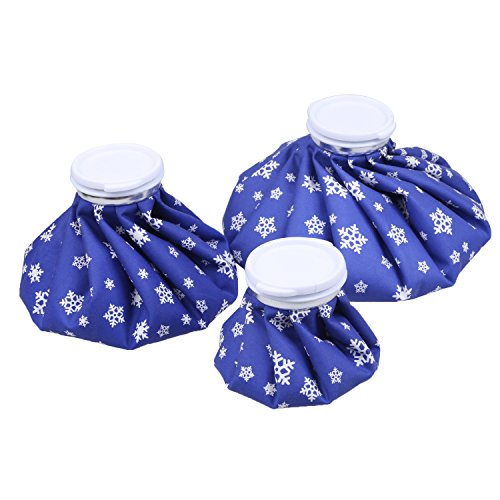 NEWSTYLE Ice Bag, 3 Pack[6', 9' &11' ] Hot And Cold Reusable Ice Bag,Relief Heat Pack Sports Injury Reusable First Aid for Knee Head Leg(Deep Blue Snowflake)