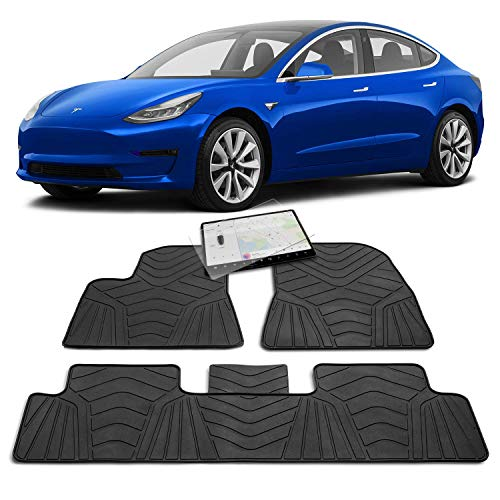 Maxats Tesla Model 3 All Weather Floor Mats Accessories with Free Screen Protector - Anti-Slip Genuine Rubber Heavy Duty 2017-2019 (5 Pack Front & Rear) Non-Odor