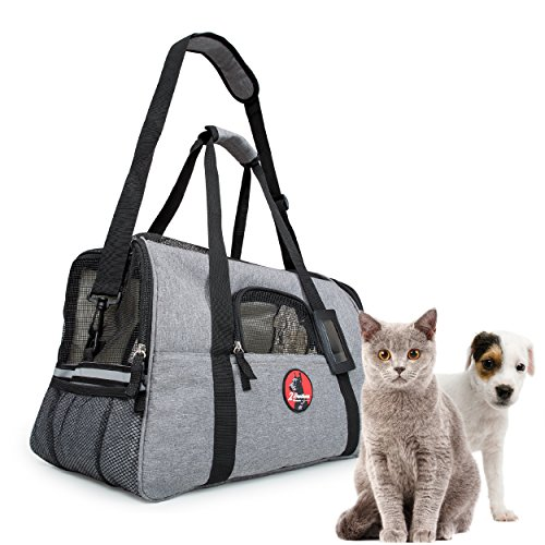 Airline Approved Pet Carrier Under Seat - Anxiety Reducing for Safe Secure Happy Travel - 2 Extra Free Soft Fleece Beds - Dogs and Cats Love It and Feel Right at Home and Fall Asleep. Donates to ASPCA 1