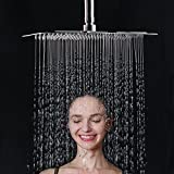 Esnbia Luxury 12×8 Inch Rectangle Rain Shower Head High Pressure Ultra Thin Water Saving Polished Chrome Finish 2.5 Gpm