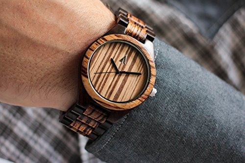 Treehut Men's Zebrawood and Ebony Wooden Watch with All Wood Strap Quartz Ana.