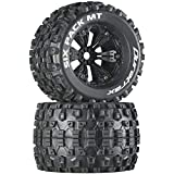 Duratrax Six Pack MT 3.8' RC Monster Truck Tires with Foam Inserts, CS Sport Compound, Mounted on 1/2' Offset Black Wheels (Set of 2)