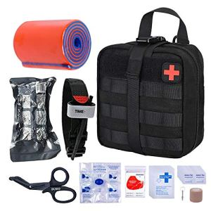 BUSIO Botiquín Primeros Auxilios,Kit Supervivencia Emergencia-Bolsa MOLLE Tactico,Torniquete,Tijera Enfermeria,Vendaje Israeli,Manta Termica,Splint … 2