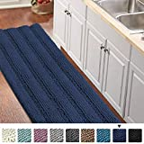 Bath Rug Runner for Bathroom 59'x 20' Extra Large Navy Blue Striped Bath Mat Runner Slid Resistant Oversize Non-Slip Bathroom Rugs Shag Area Rug, Absorbent Shaggy Rug for Tub Shower Rug, Navy