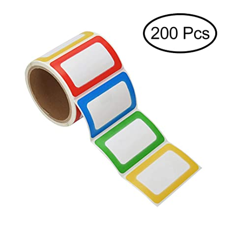 Paprma Nametag Labels 200 Colorful Plain Name Stickers Name Tags Stick On For Kids Wall Desk Clothes 3 12 X 2 14 1 Roll