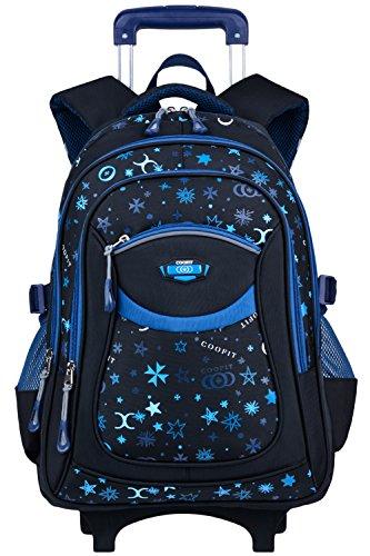 Rolling Backpack, COOFIT Wheeled Backpack School Roller Backpack Rolling Backpack With Wheels kids luggage (Coofit Originally Design Blue)