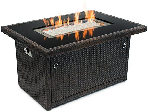 Outland Fire Table, Aluminum Frame Propane Fire Pit Table w/Black Tempered Glass Tabletop Resin Wicker Panels & Arctic Ice Glass Rocks, Model 401 35,000 BTU Auto-ignition (Espresso Brown)