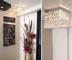 Discount4product-Crystal-Modern-Chandeliers-Lighting-LED-Ceiling-Light-Pendant-Bulb-Light-Fixture-35cm-diameter-and-height-18-feetTransparent