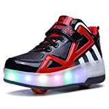 Uforme Kids Boys Girls High-Top Shoes LED Light Up Sneakers Single Wheel Double Wheel Roller Skate Shoes (3 M US=CN34, Black/Red-Double Wheel) ...