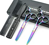 5.5 Inches Hair Scissors with Thinning Comb Hair Cutting Shears Thinning Shears set for Professional and Personal (Rainbow)