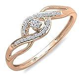 0.15 Carat (ctw) 10k Rose Gold Round Cut Diamond Ladies Engagement Bridal Promise Ring (Size 6)