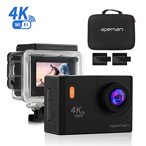 APEMAN 4K Action Camera with WiFi 20MP Waterproof Cam Ultra 170 Wide-Angel 2 Inch LCD Display – 2 Pcs Rechargeable Batteries,30M Waterproof Case and Portable Package including Full Accessories Kits