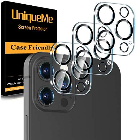 [ 3 Pack] UniqueMe Camera Lens Protector Compatible with iPhone 12 Pro Max 6.7″ Tempered Glass,[Case Friendly][New version][Scratch-Resistant][Easy Installation] -Black Circle