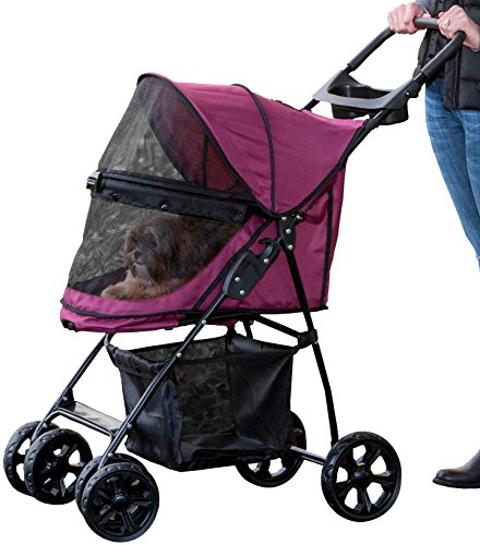 Pet Gear No-Zip Happy Trails Lite Pet Stroller for Cats/Dogs, Zipperless Entry, Easy Fold with Removable Liner, Storage Basket + Cup Holder 1