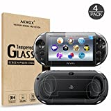 (4-Pack) Screen Protectors for Sony Playstation Vita 2000 with Back Covers, Akwox 9H Tempered Glass Front Screen Protector and HD Clear Crystal PET Back Screen Protective Film for PS Vita PSV 2000