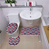 Printed Bath Rug Set,Crabs Decor,Nautical Theme Cute Crabs on The Striped Background Illustration Print,Red and Navy Blue,Bath mat Set Round-Shaped Toilet Mat Area Rug Toilet Lid Covers 3PCS