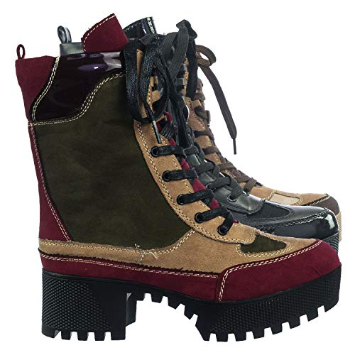 Women Combat Ankle Bootie, High Block Heel, Faux Fur Lining, Lace Up