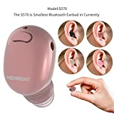 NENRENT S570 Bluetooth Earbuds,Smallest Mini V4.1 Wireless Bluetooth Earpiece Headset Headphone Earphone with Mic Hands-Free Calls for iPhone iPad Samsung Galaxy LG and Smartphones Rose Gold (1 Piece)