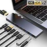 USB C Hub,GIKERSY 8-in-1 USB C Docking Station with 2 HDMI 4K,3 USB-C Ports,2 USB 3.0 Ports,3.5mm Audio Jack,Compatible with MacBook Pro 2019/2018-2016,MacBook Air 2019/2018