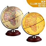 TTKTK Illuminated World Globe for Kids with Wooden Stand,Built in LED for Illuminated Night View Antique Globe for Home Décor and Office Desktop
