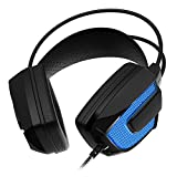 Sentey Gaming Headset Microphone Artix Black Gs-4561 Audiophile Stereo Headphones Gold USB 2.0 2.2 Meters Cable Vibration Integrated Subwoofer Noise Insulation Pads for Computer Pc Ps4, MAC