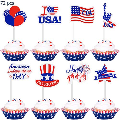 Amosfun 4th of July Decorations Cupcake Toppers Cake Picks Patriotic Decorations Party Supplies Independence Day Party Supplies