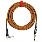 Rattlesnake Cable - 20 Foot Standard Copper Guitar Instrument Cable Straight to Right Angle 1/4-Inch plugs