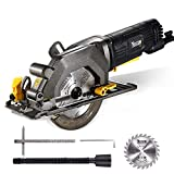 TECCPO Circular Saw, 4 Amp 4-1/2' 3500 RPM Compact Circular Saw with 24T Carbide Tipped Blade for Wood Cutting, 7' Scale Ruler, Max Cutting Depth 1-11/16'' (90°), 1-1/8'' (45°) -TAMS25P