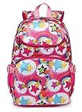 Kids Backpacks for Girls Elementary School Bags Kindergarten Girly Bookbags Lightweight Waterproof (Rainbow Hot Pink)