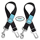 Dog Seat Belt Pet Dog Cat Car Seatbelt Safety - 2 Pack - Adjustable Harness Safety Belts Pet Leash - Heavy Duty Nylon - Universal Fit